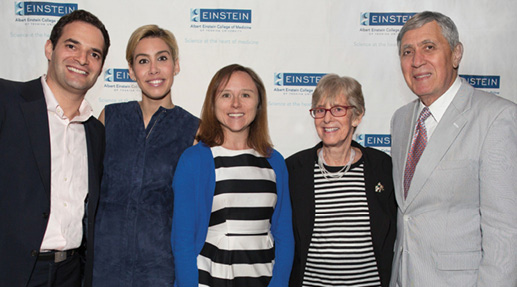 From left, Jonathan Segal; Danielle Cohen Segal, EEL executive chair; Teresa V. Bowman, Ph.D.; Ruth L. Gottesman, Ed.D., chair emerita, Einstein Board of Overseers; and Dean Allen M. Spiegel, M.D. Top Banner: From left, Tommy Shaffer and Danielle Lotardo with EEL executive board members Amanda and Joseph Sipala.