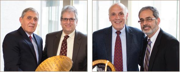 Dean Spiegel with Jay M. Feingold, M.D. '86, Ph.D. '86.; Mark J. Ellenbogen, M.D. '70, left, with Arthur M. Kozin, M.D. '82
